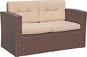 Super Patio Outdoor Wicker Loveseat Patio Furniture, Rattan Corner Sofa Chair with Beige Cushions, Additional Seats for Sectional Sofa Set, Porch and Poolside, Espresso Brown