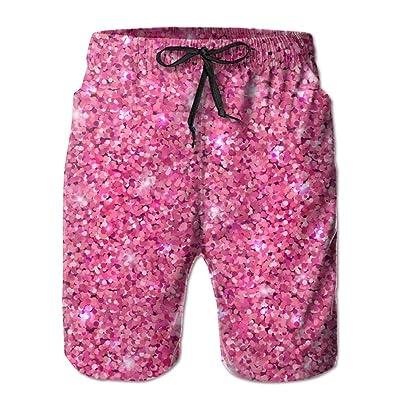Pink Glitter Men's Quick Dry Swim Trunks Beach Board Shorts