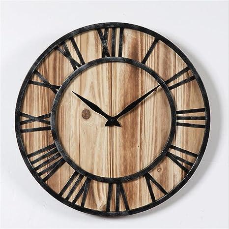 GuoEY 40cm/16 pulgadas Vintage Relojes paredes silenciosa,Creative ronda Gran Reloj Romano Pantalla