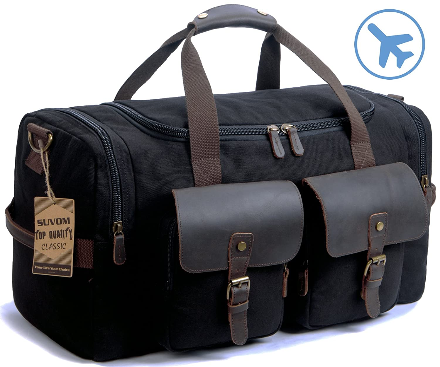 SUVOM Canvas Duffle Bag Genuine Leather Weekend Bag Carry On Travel Tote Duffel Weekender Luggage Oversized Holdalls Handbag for Men and Women with Shoulder Strap