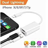 iPhone 7 Plus Adapter & Splitter, CaseyPop Dual Lightning Headphone Audio & Charge Adapter Accessories for iPhone X / 8 / 8 Plus / 7 / 7 Plus (IOS 11) White