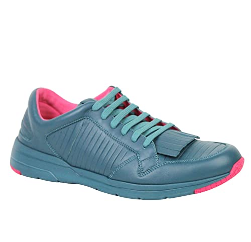 30f64f9315 Gucci Fringe Teal Pink Contrast Leather Sneakers 368482 4418 (9 G   10 US