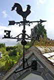 Black Cast Iron Rooster Weathervane - Includes Multi-Position Mounting Bracket - Various Sizes (Large)