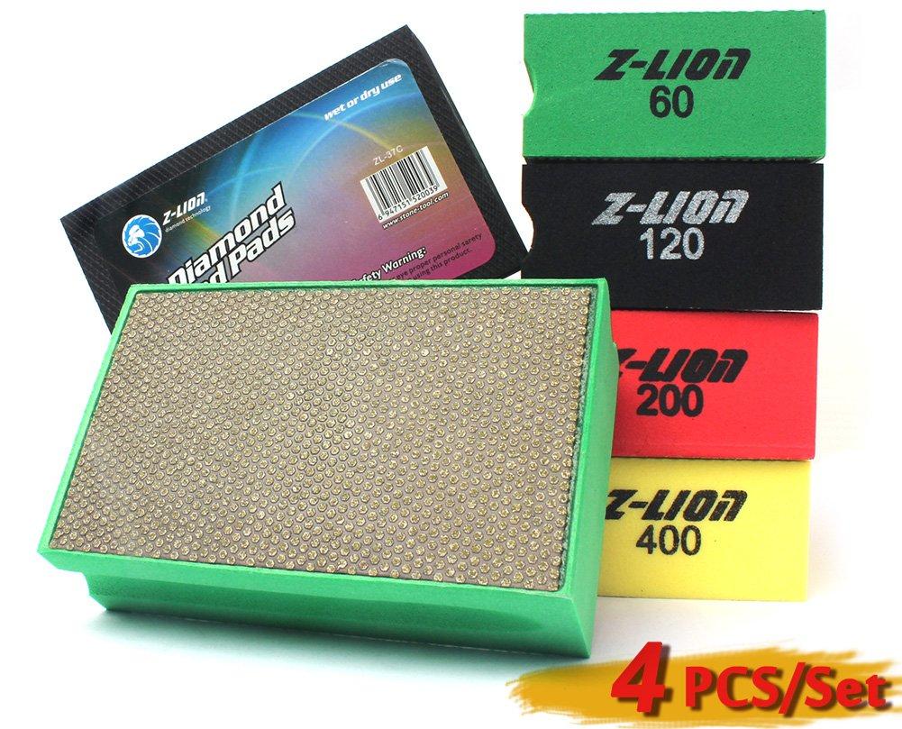 Z-Lion Diamond Hand Polishing Pads Electroplated 4 Pcs Set Professional for Glass Stone