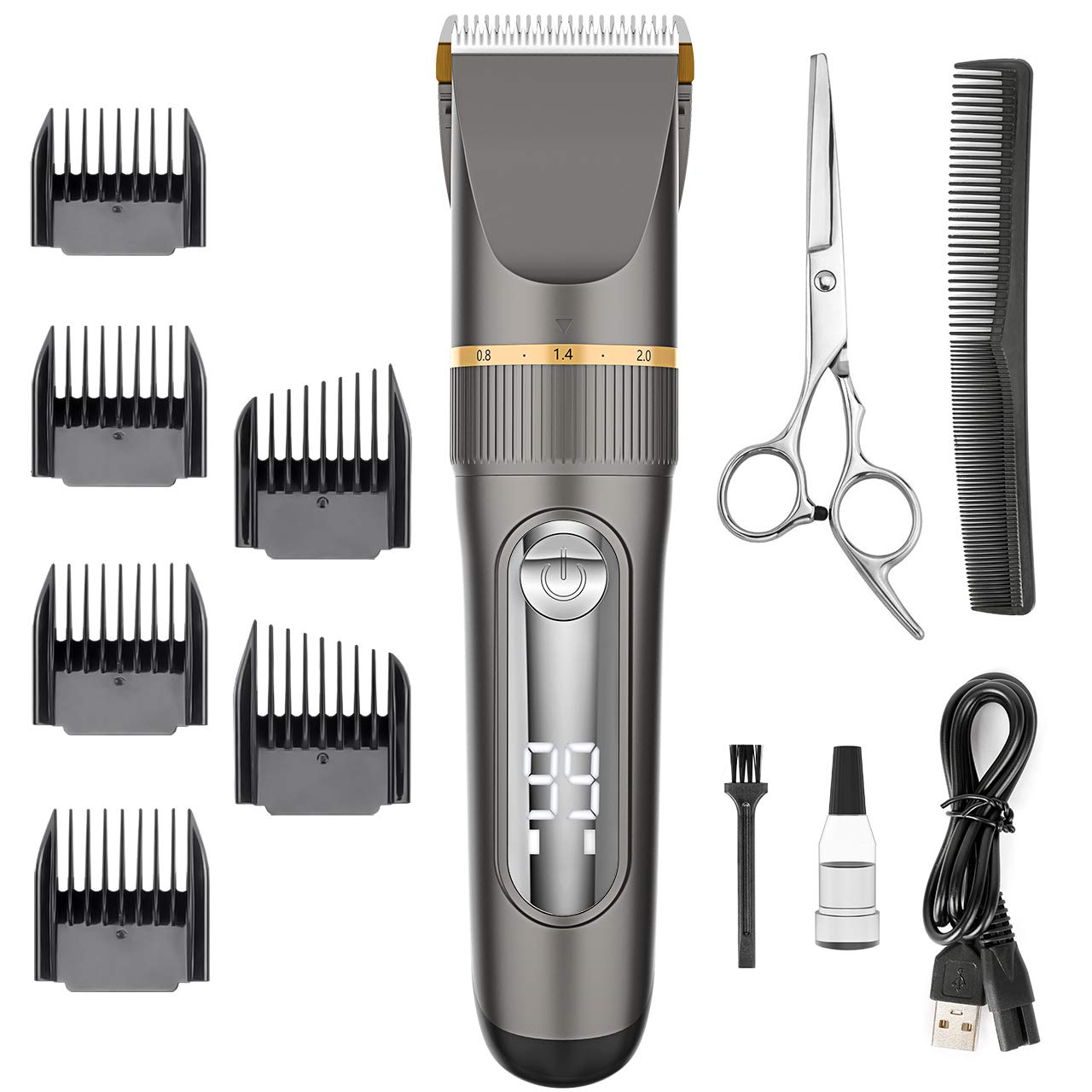 Hair Clippers – Nicewell Waterproof Hair Clippers for Men Kids Cordless Hair Trimmer Kit with Hair Scissors Guard Combs