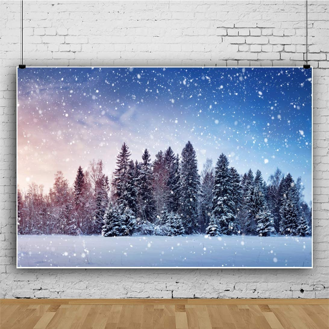 Winter Night Snowscape Photography Backdrop 8x6.5ft Snowflake Bokehs Background Pine Xmas Tree Forest White World Holiday Birthday Wedding New Year Chirstmas Party Decor Portrait Shoot Poster