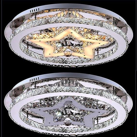 /Ø48cm LED Kristall Deckenlampe Rund Design Deckenleuchte 48W Moderne Kreative LED Lampen Starlight Schlafzimmer Kristallleuchte f/ür Wohnzimmer Esszimmer Sch/önes Dekor Kronleuchter warmwei/ßes