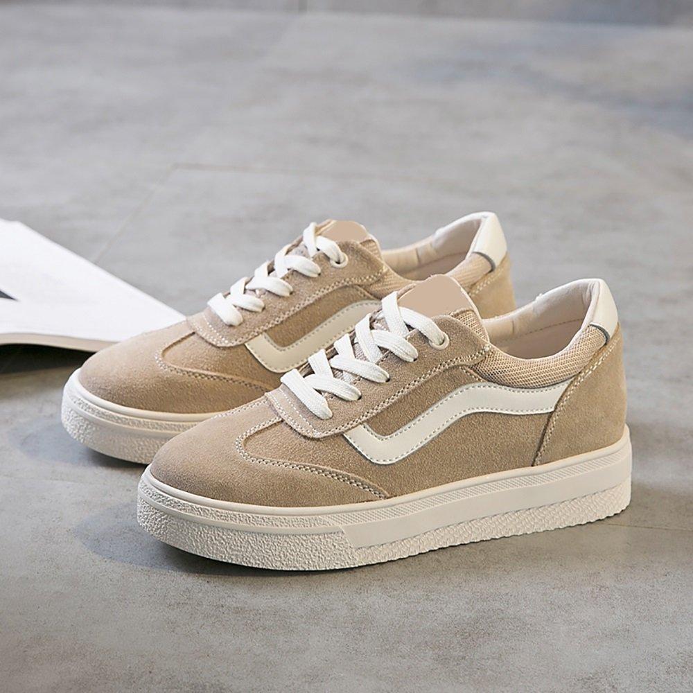 GYHDDP Kleine weiße Schuhe dicke Freizeitschuhe Schuhe flache einseitige Schuhe Frau Turnschuhe 2 Farben erhältlich Größe Optional (Farbe : Schwarz  größe : 37) Wei
