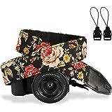 Camera Strap,Eggsnow Universal Camera Neck Shoulder Strap for Mirrorless,Polaroid,Digital SLR Camera-Brown Flower