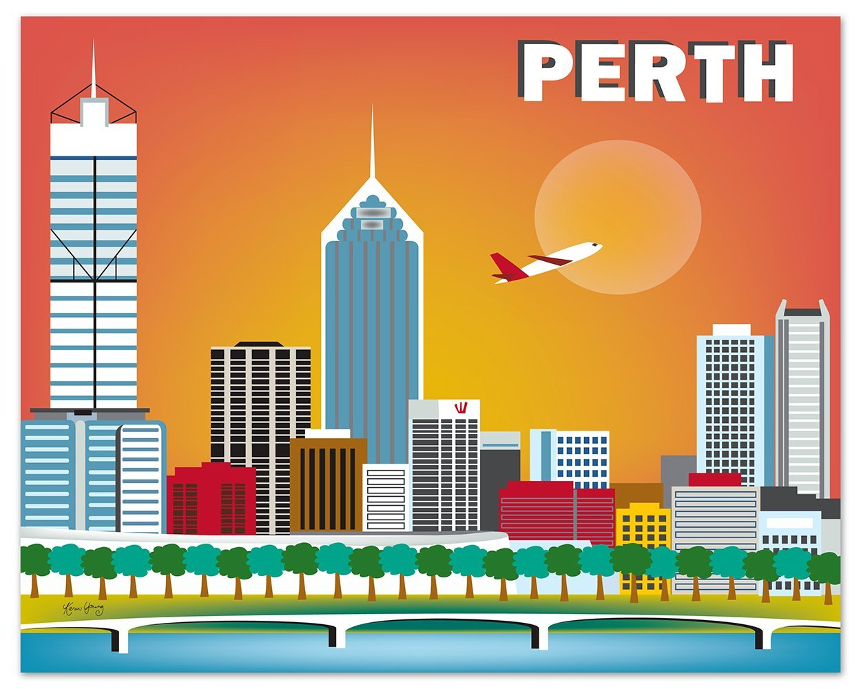 Perth, Australia Print - Retro Inspired Travel Wall Art for Home and Office - art sizes: 8 x 10, 11 x 14, 16 x 20, 24 x 30, 36 x 45