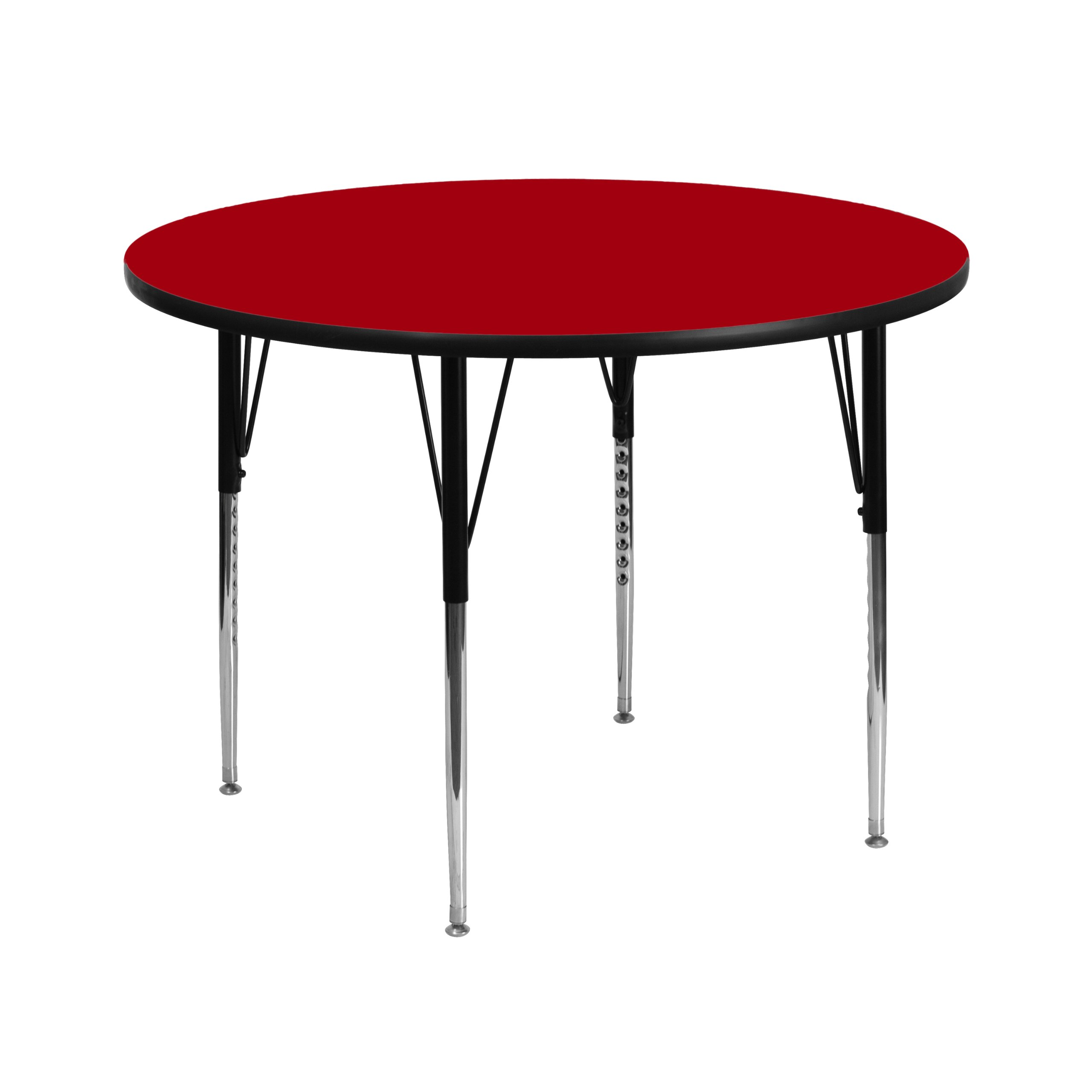 Flash Furniture 42'' Round Red Thermal Laminate Activity Table - Standard Height Adjustable Legs