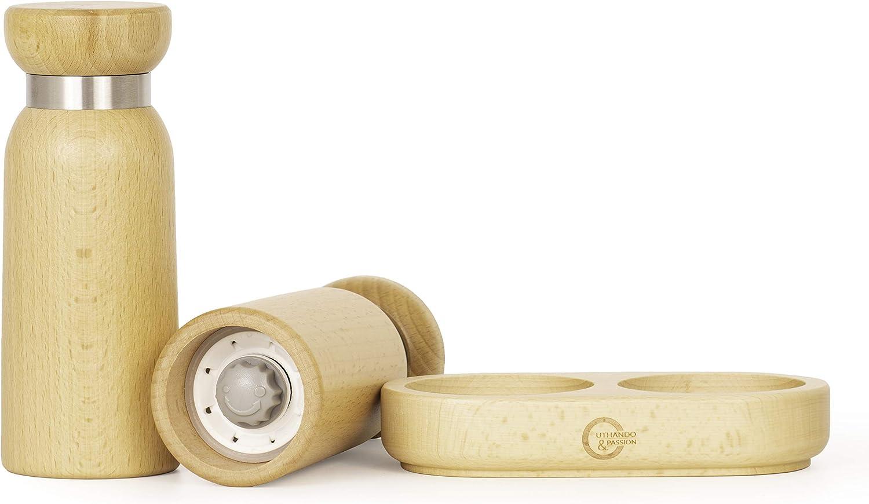 UTHANDO /& PASSION Salz und Pfefferm/ühle 2er-Set + Basis Stufenlos verstellbares Keramikmahlwerk