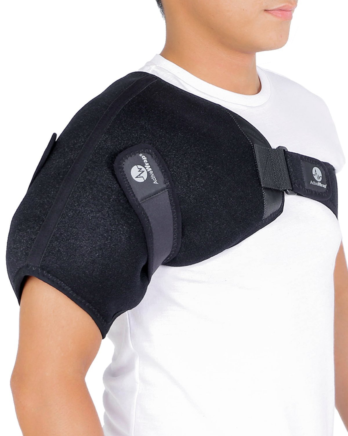 ActiveWrap Shoulder Ice and Compression Support for Rotator Cuff Injuries Recovery BAWSH11 - Large Reusable Hot Cold Packs Included