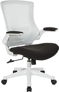 Office Star White Screen Back Manager's Chair, Linen Black