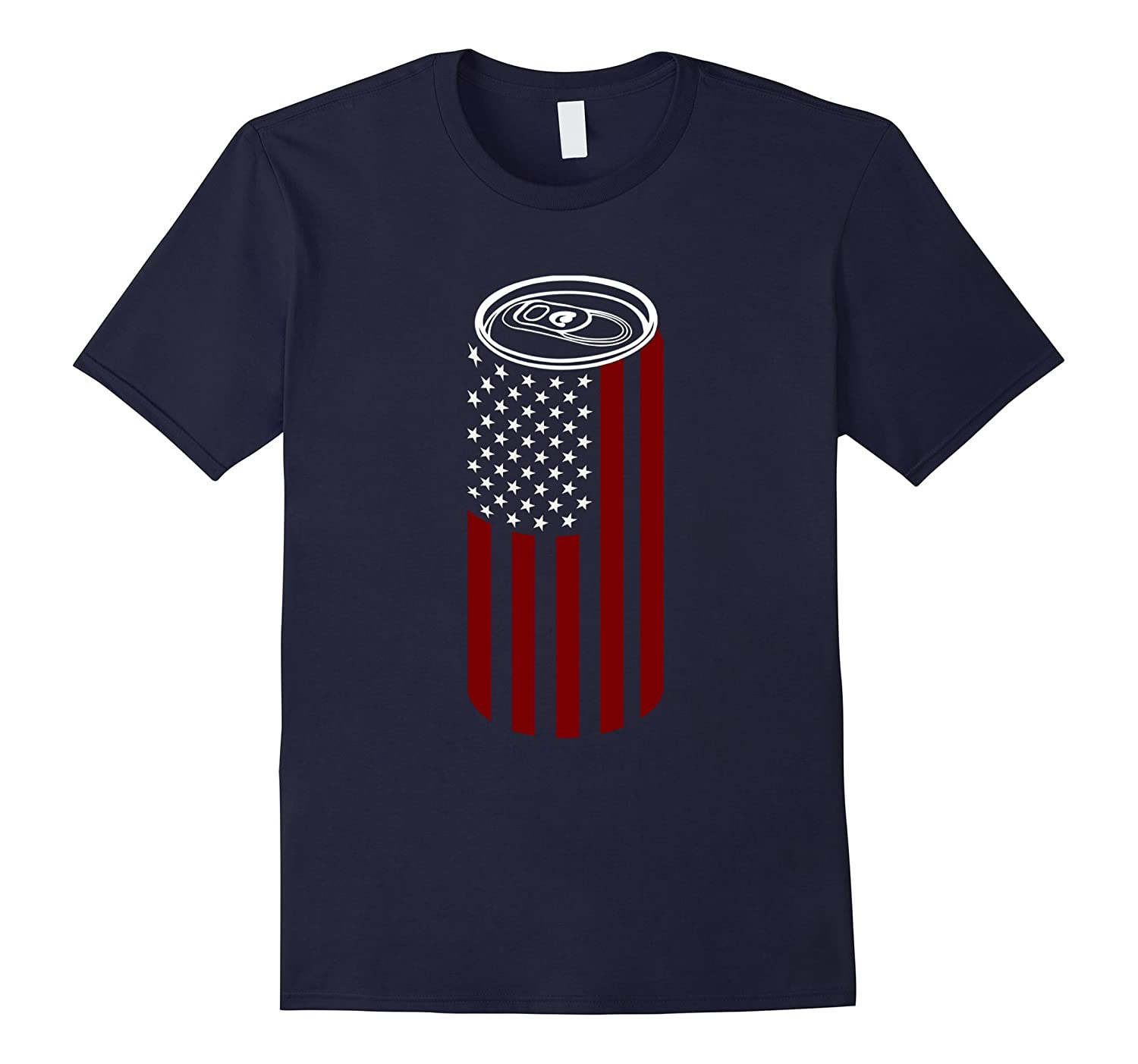 4th of July Beer Drinking T-shirt: USA Flag Beer Can T-shirt-TH
