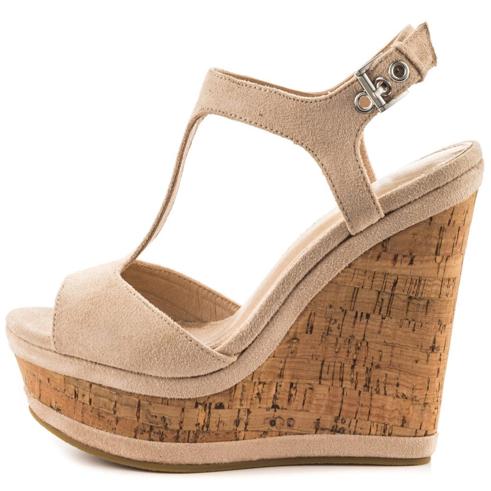 MERUMOTE Women's Wedges Sandals High Platform Open Toe Ankle Strap Shoes Natural 8 US