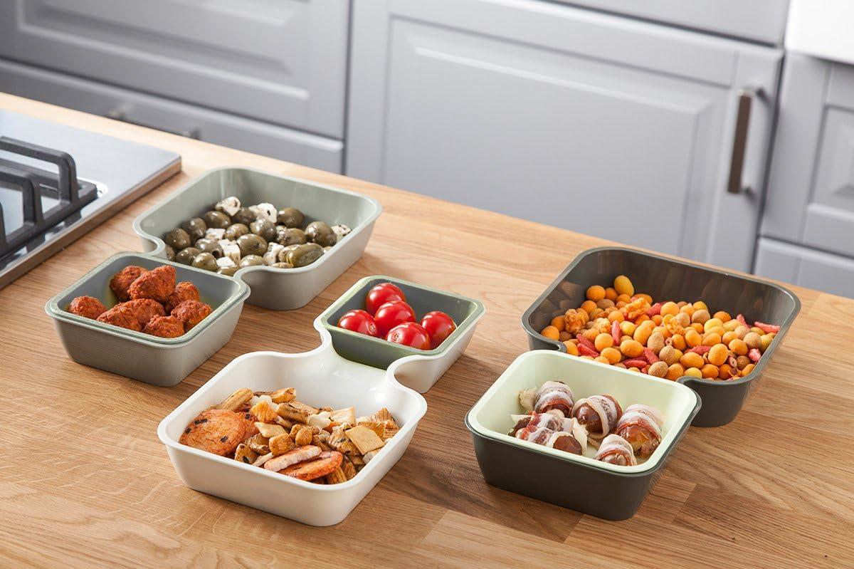 Tomorrow's Kitchen Bandejas apilables, Blanco y Gris, 30x4.3x16.4 cm, 6 Unidades