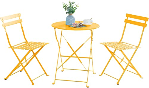 SUNLEI Metal Folding Outdoor Patio Furniture Sets,3 Piece Patio Set of Foldable Patio Table and Chairs