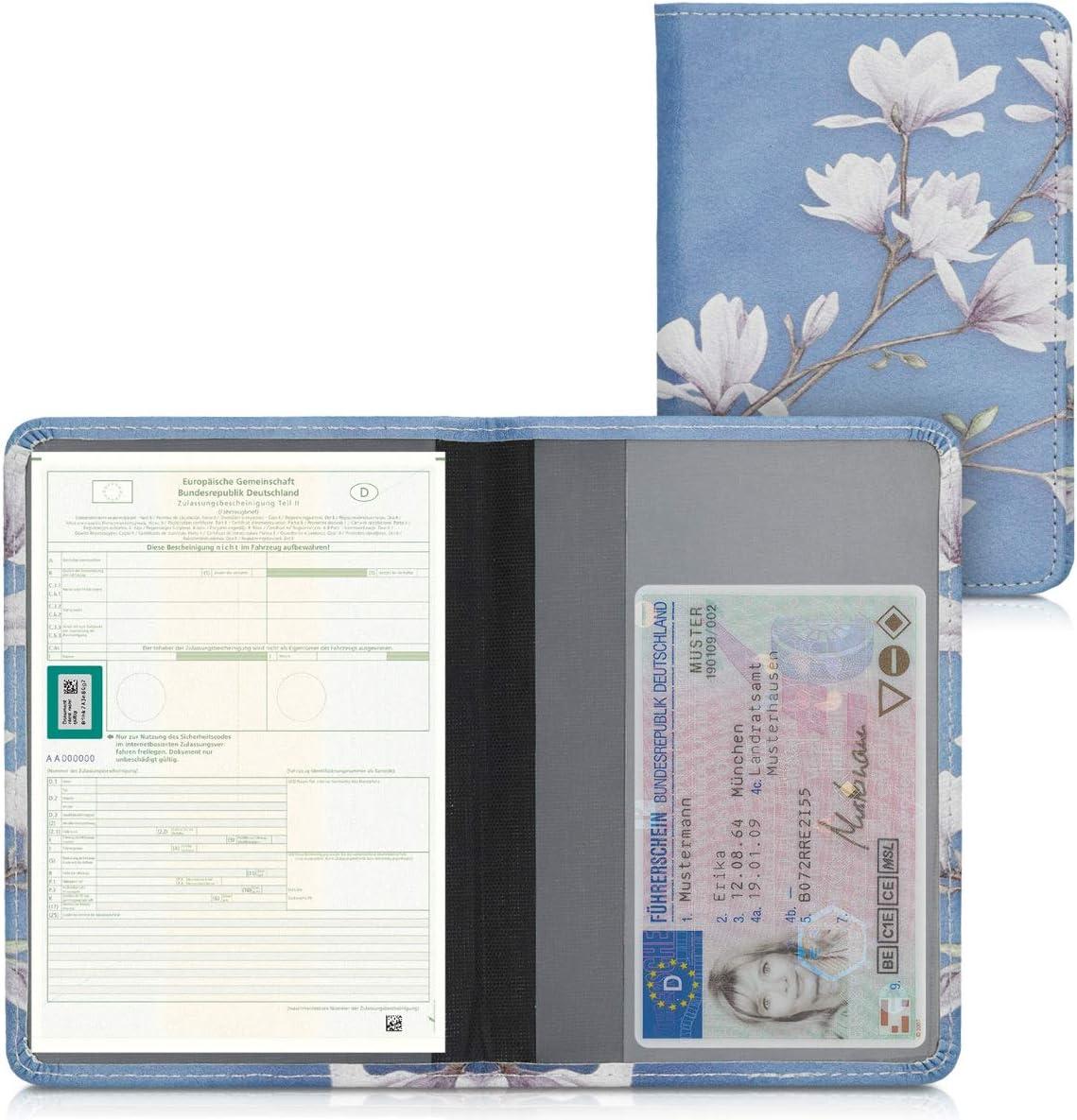 /Étui Portefeuille de Protection en Simili Cuir Blanc-Noir kwmobile Porte permis de Conduire Carte Grise avec Compartiments Cartes Passeport
