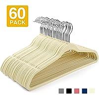 HOUSE DAY Velvet Hangers -60 Pack- Non Slip Flocked Hangers Velvet Suit Hangers Space Saving Clothes Hanger Beige Velvet Hanger Heavy Duty Adult Hanger for Coat, Suit
