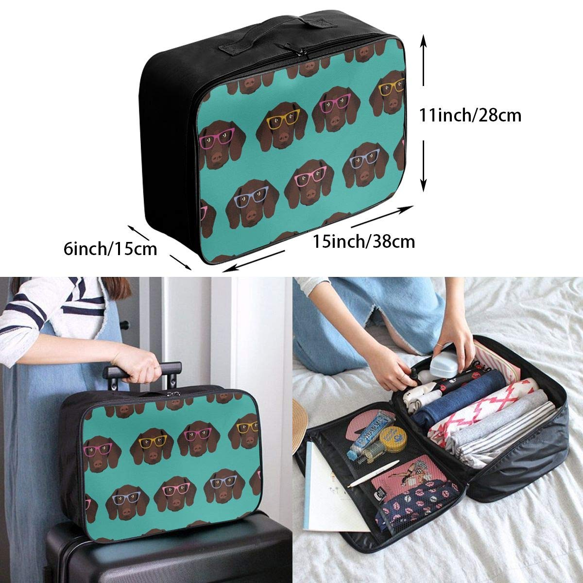 Lightweight Large Capacity Duffel Portable Luggage Bag German Shorthaired Pointer In Glasses Travel Waterproof Foldable Storage Carry Tote Bag