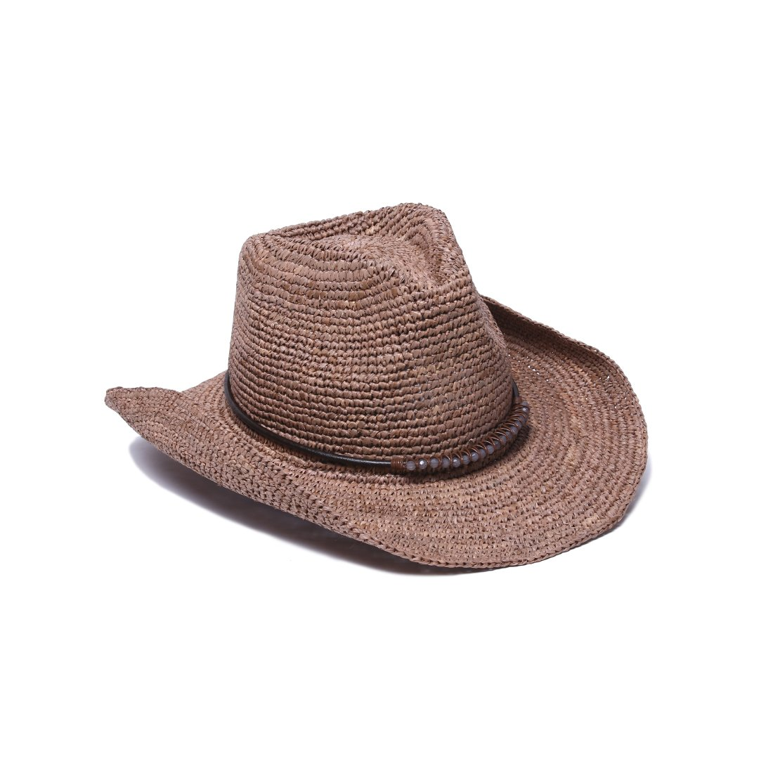 ale by Alessandra Women's Cassidy Raffia Cowboy Hat with Beaded Trim and Memory Wire Brim, Cocoa, One Size by ale by Alessandra (Image #1)