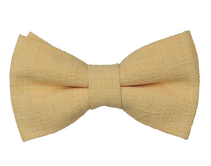 237f9b6a44d13 Tiekart men cream plain solids linen knotted double bow tie: Amazon ...
