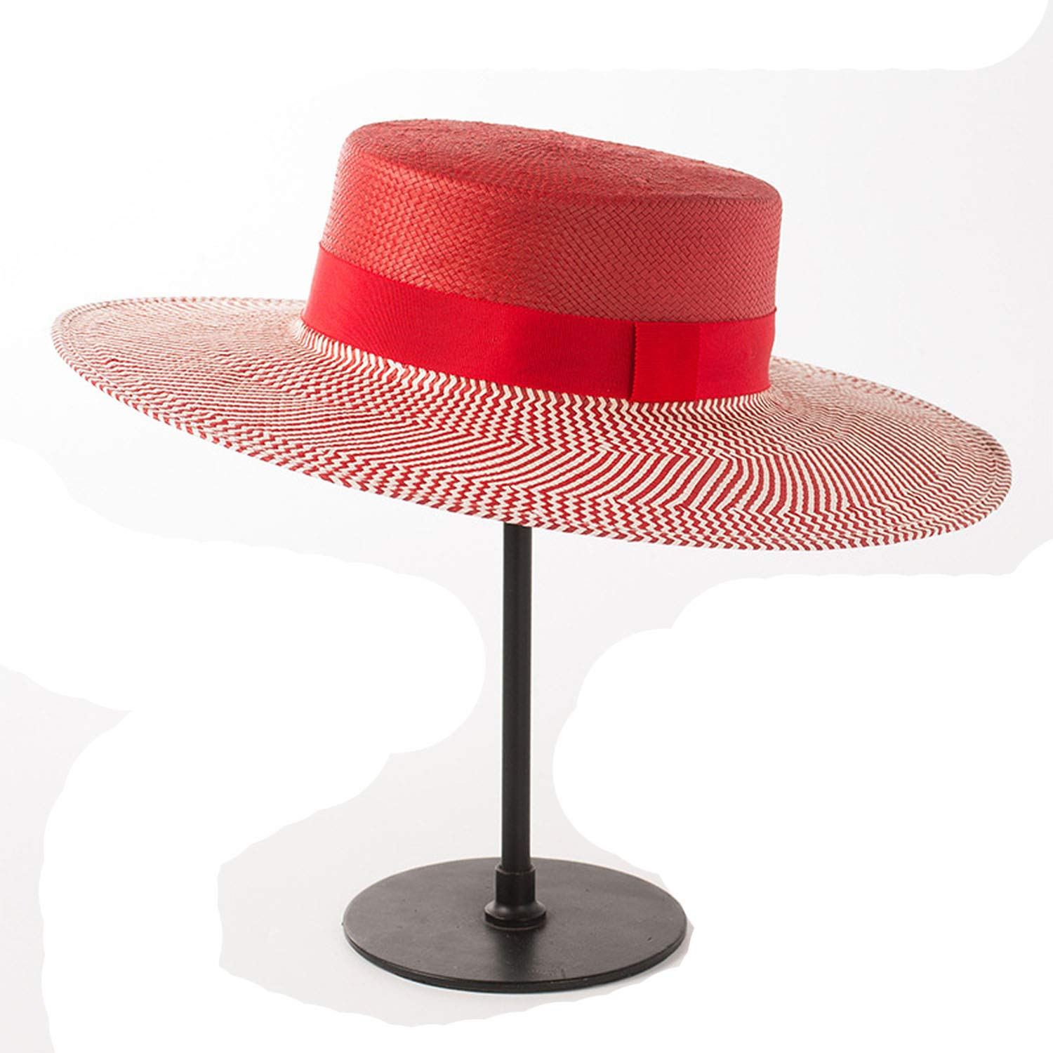 002 Red With Trim CHENTAI Sun Hats for Women Summer Beach Hats Paper Straw Hat for Ladies Boater Hat