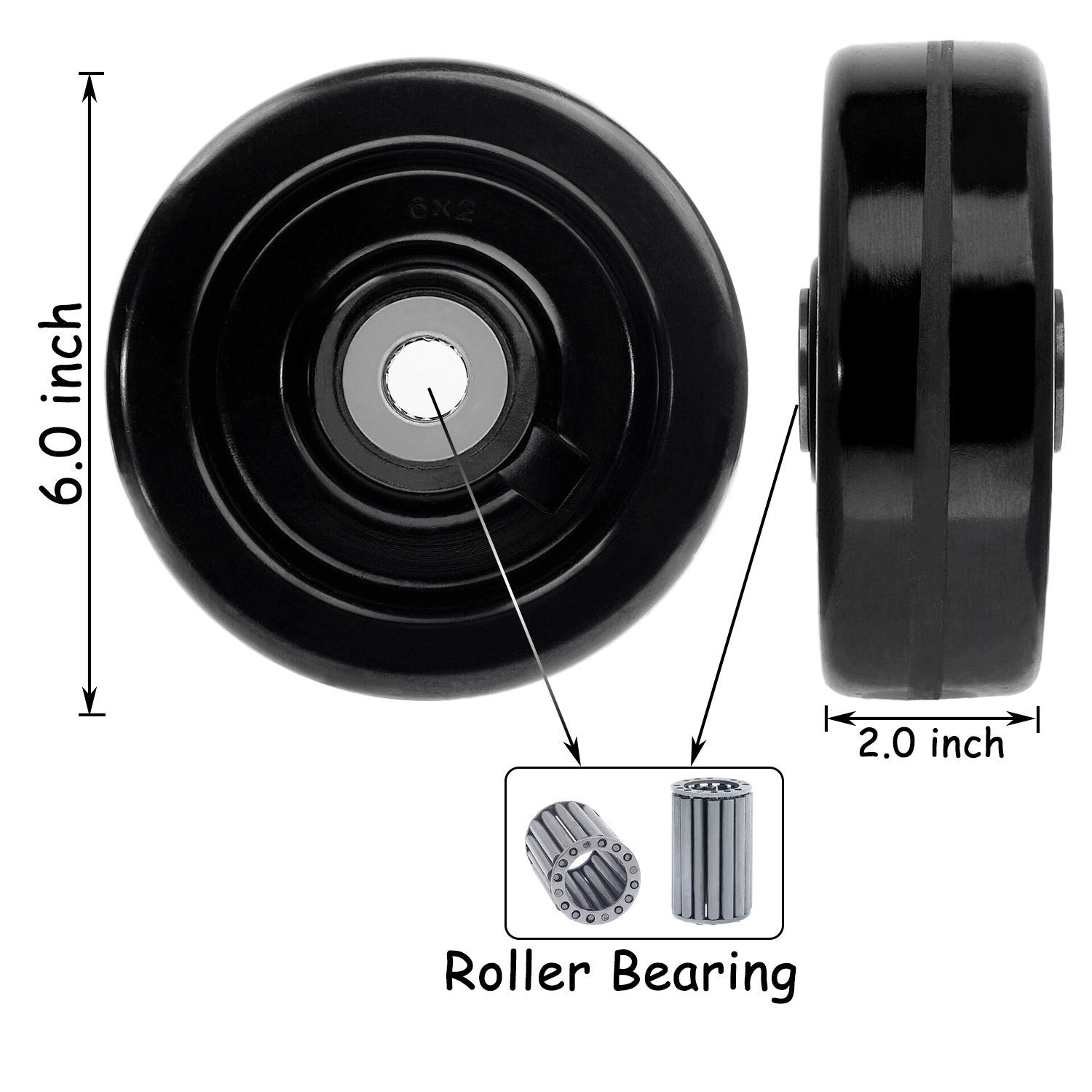 SY America 4x2 Width 4 Pack Phenolic Wheel w//Rolling Bearing /& Steel Bushing 1//2 Axle Diameter Casters Total Capacity 3600 lbs 4 inches Pack of 4