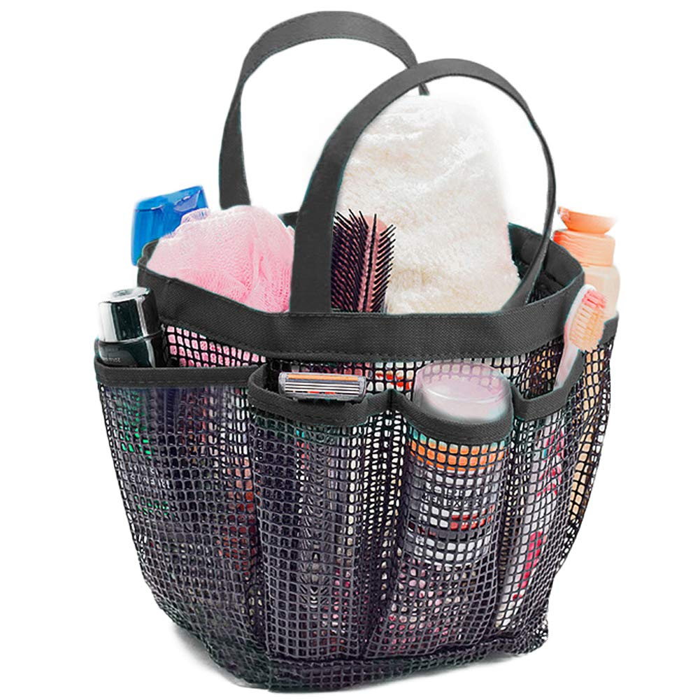 Mesh Shower Caddy Tote, Extra Large Portable Caddy with 9 Mesh Storage Pockets, Bathroom Quick Dry Organizer Hanging Toiletry Bath Storage Organizer for College, Dorms, Gym, Camp & Travel with Double