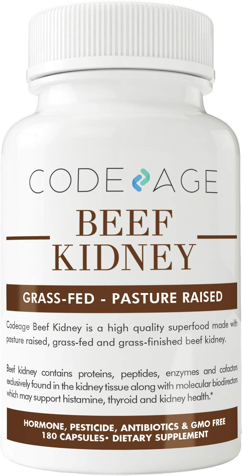 Codeage Grass Fed Beef Kidney, 180 Count (High in Selenium, B12, DAO