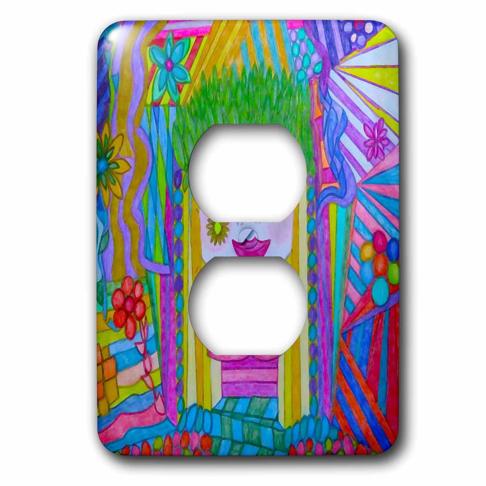 3dRose Jos Fauxtographee- Drawing of a Girl - A sketch of a woman with blonde hair on a colorful design - Light Switch Covers - 2 plug outlet cover (lsp_263433_6)
