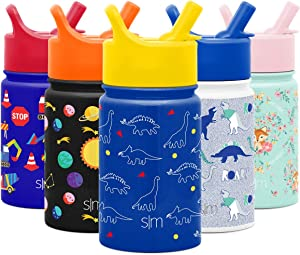 Simple Modern 10oz Summit Kids Water Bottle Thermos with Straw Lid - Dishwasher Safe Vacuum Insulated Double Wall Tumbler Travel Cup 18/8 Stainless Steel Dinosaurs