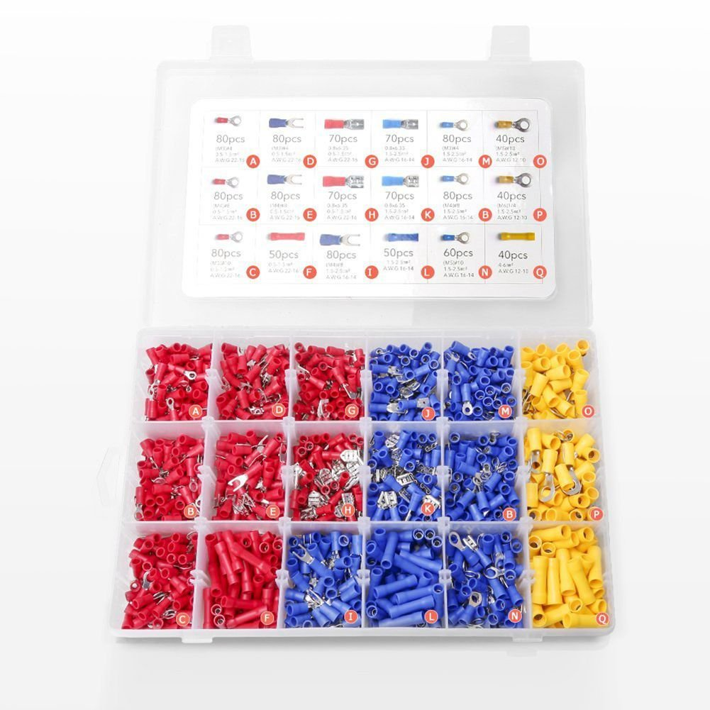 TOOGOO 1200PCS Crimp Connectors Electrical Crimp Terminals with 18 Sizes Insulated Terminal Set