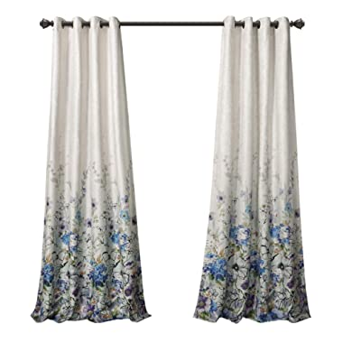 MYSKY HOME Floral Design Print Grommet top Thermal Insulated Faux Linen Room Darkening Curtains, 52 x 84 Inch, Blue, 1 Panel