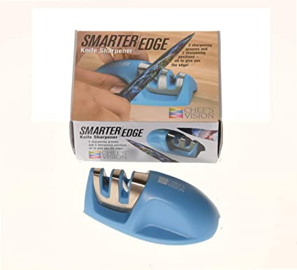 Smarter Edge Kitchen Knife Sharpener by Chefs Vision - Blue V-Shape 2 Stage Sharpener - Knife Honer Tool - Color Portable Knife Sharpener - Manual ...