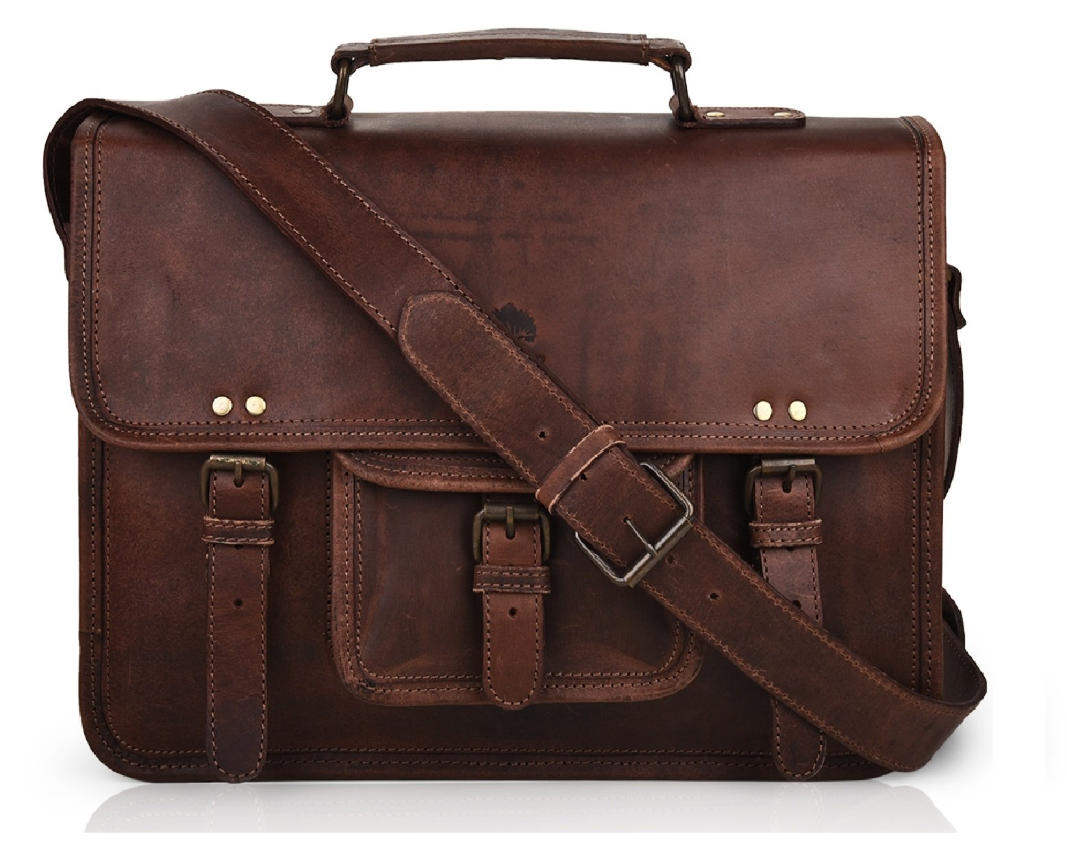 15 Inch Leather Vintage Rustic Crossbody Messenger Courier Satchel Bag Gift Men Women ~ Business Work Briefcase Carry Laptop Computer Book Handmade Rugged & Distressed ~ Everyday Office College School by RusticTown (Image #1)