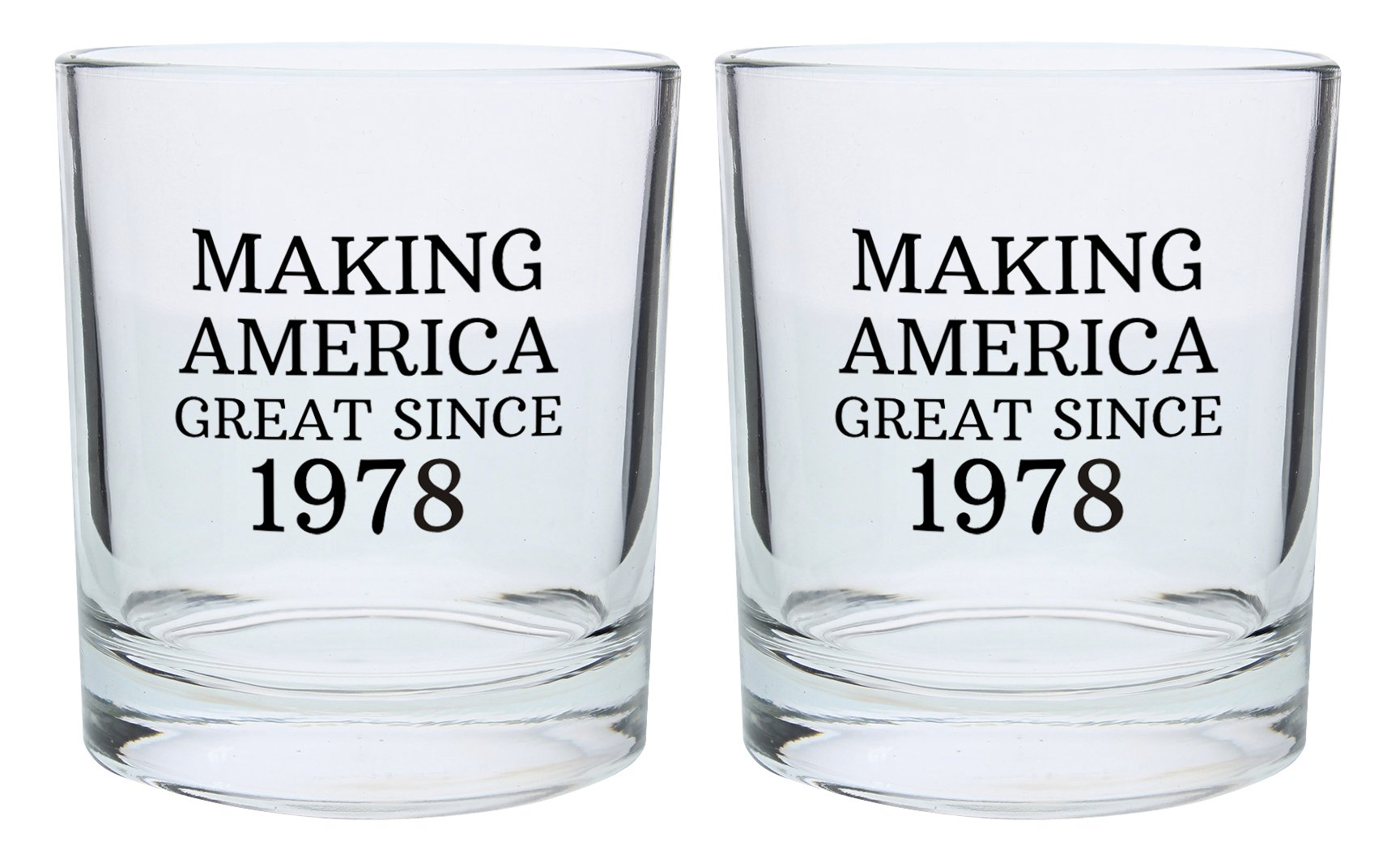 40th Birthday Gifts for Dad Mom Making America Great Since 1978 Republican Conservative 40th Birthday Party Supplies Gift Lowball Glasses 2-Pack Round Lowball Tumbler Set Black