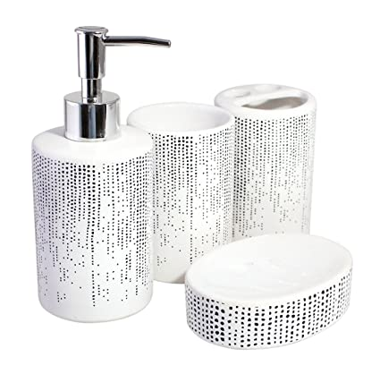 Modern, Stylish, Quality Ceramic Decorative Bathroom Accessory Set,  Including Liquid Dispenser, Tumbler, Soap Tray and Toothbrush Holder -  Minimalist ...