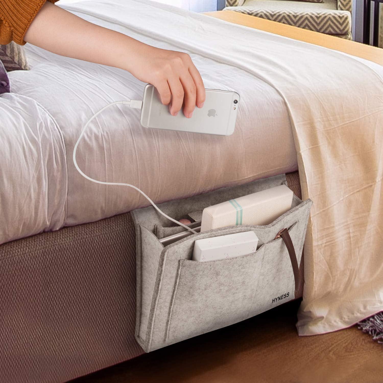 Bverionant Bedside Storage Hanging Organizer Basket for Shelf Pocket Bed Removable Book Holder Grey