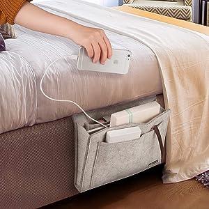 Bedside Caddy,Hyness Bedside Storage Organizer,Table Cabinet Hanging Storage Organizer,Sofa Felt Bedside Pocket,Under Mattress Holder Bag for Book,Ipad,Tablet,Remotes-Gray