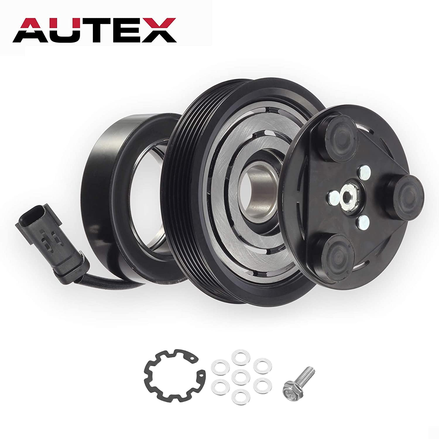AUTEX AC A/C Compressor Clutch Coil Assembly Kit 55111400AA TEM255275 67184 55111400AB Replacement for 2006 2007 2008 JEEP LIBERTY 2007 2008 DODGE NITRO