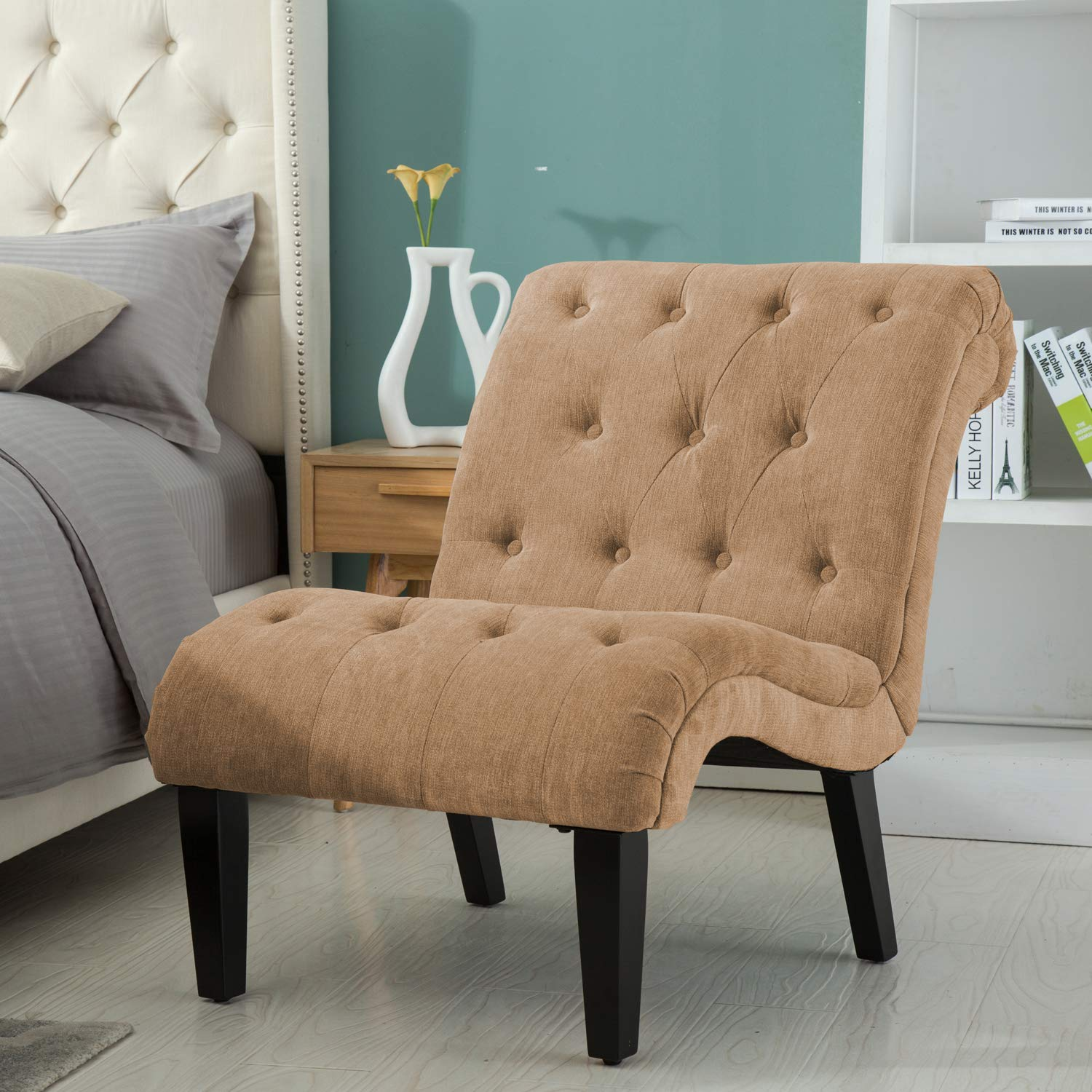 YongQiang Living Room Chair Fabric Upholstered Bedroom Accent Chair  Backrest Lounge Chairs with Solid Wood Legs