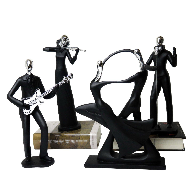 Dekofiguren Dekoobjekt aus Kunstharz Musiker-Serie schwarz 4er Set