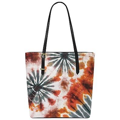 9af84e191 Amazon.com: InterestPrint Watercolor Tie Dye Pattern PU Leather Tote Bag  Shoulder Handbag for Women Girls: Shoes