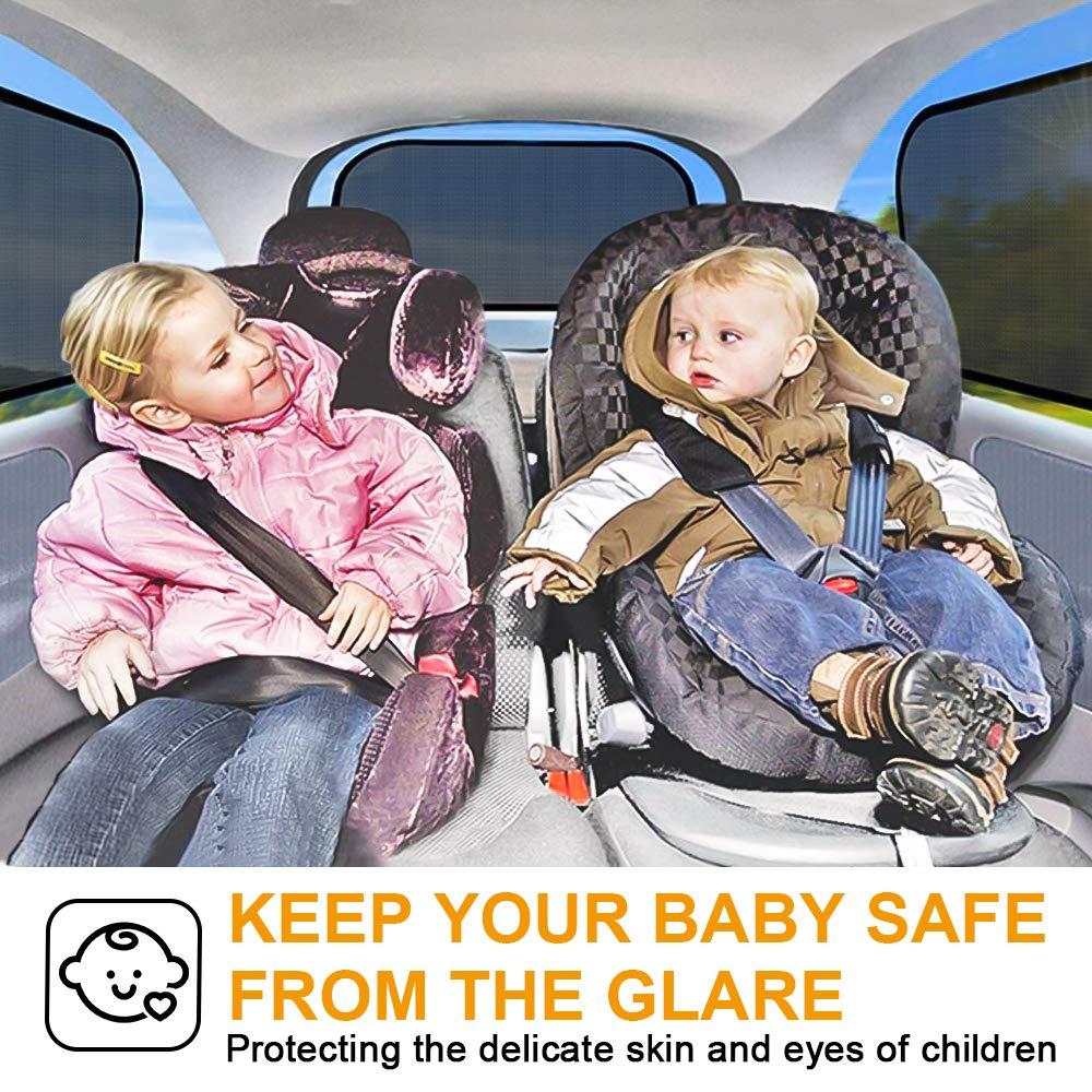 Schwarz omitium Sonnenschutz Auto 4er Set Selbsthaftende Sonnenschutz f/ür Kinder mit UV Schutz Sonnenblende Auto Baby f/ür Seitenfenster Meisten Autos und SUVs