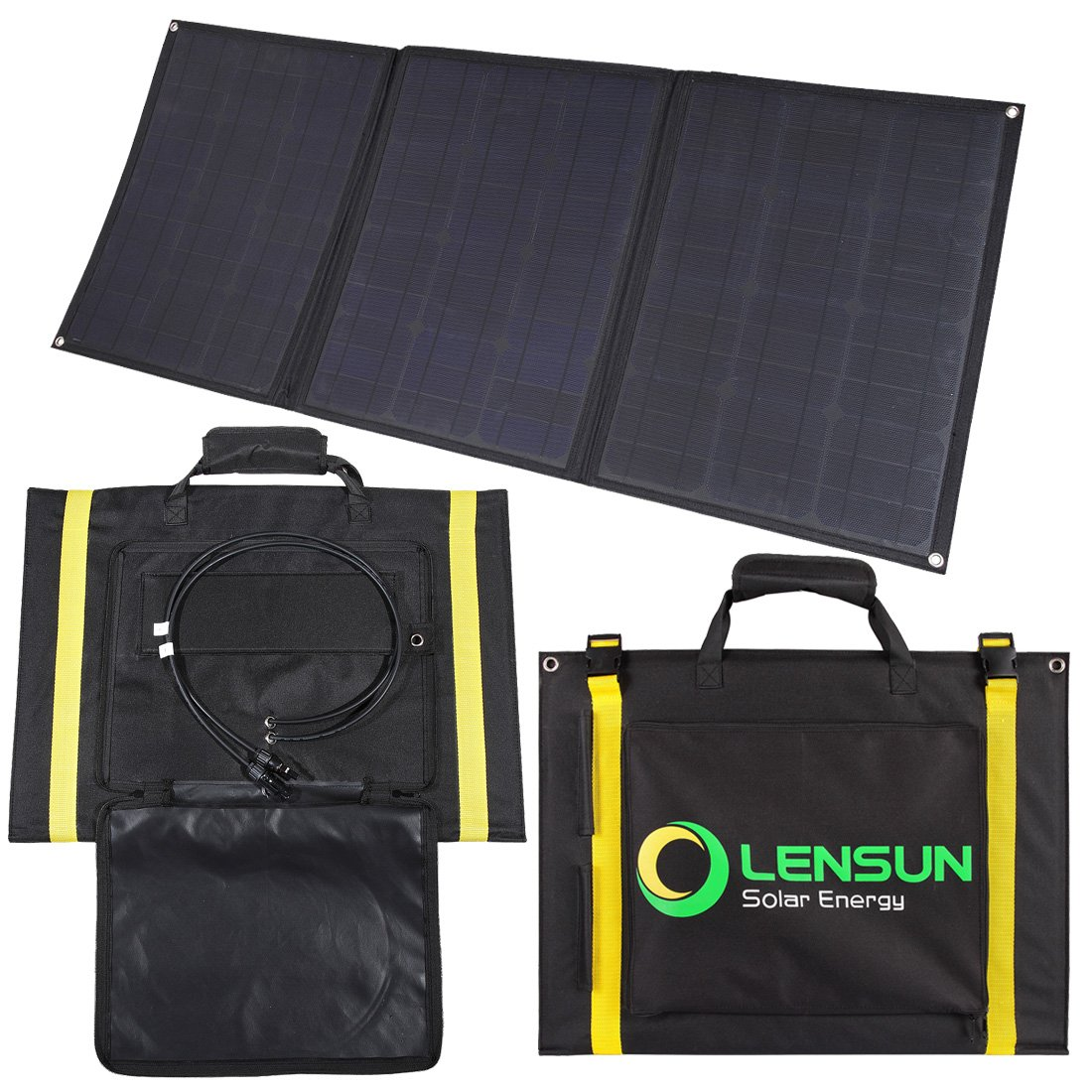 Lensun 100w Foldable Solar Panel 12v Ultralight Volt Meter Wiring As Well Diagram Rv Folding Charger With Mc4 Cables Ideal For Camping Van Rvs Motorhomes Caravans