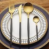 LEKOCH 4-Piece Stainless Steel Flatware Set Including Fork Spoons Knife Tableware (Black+Golden)