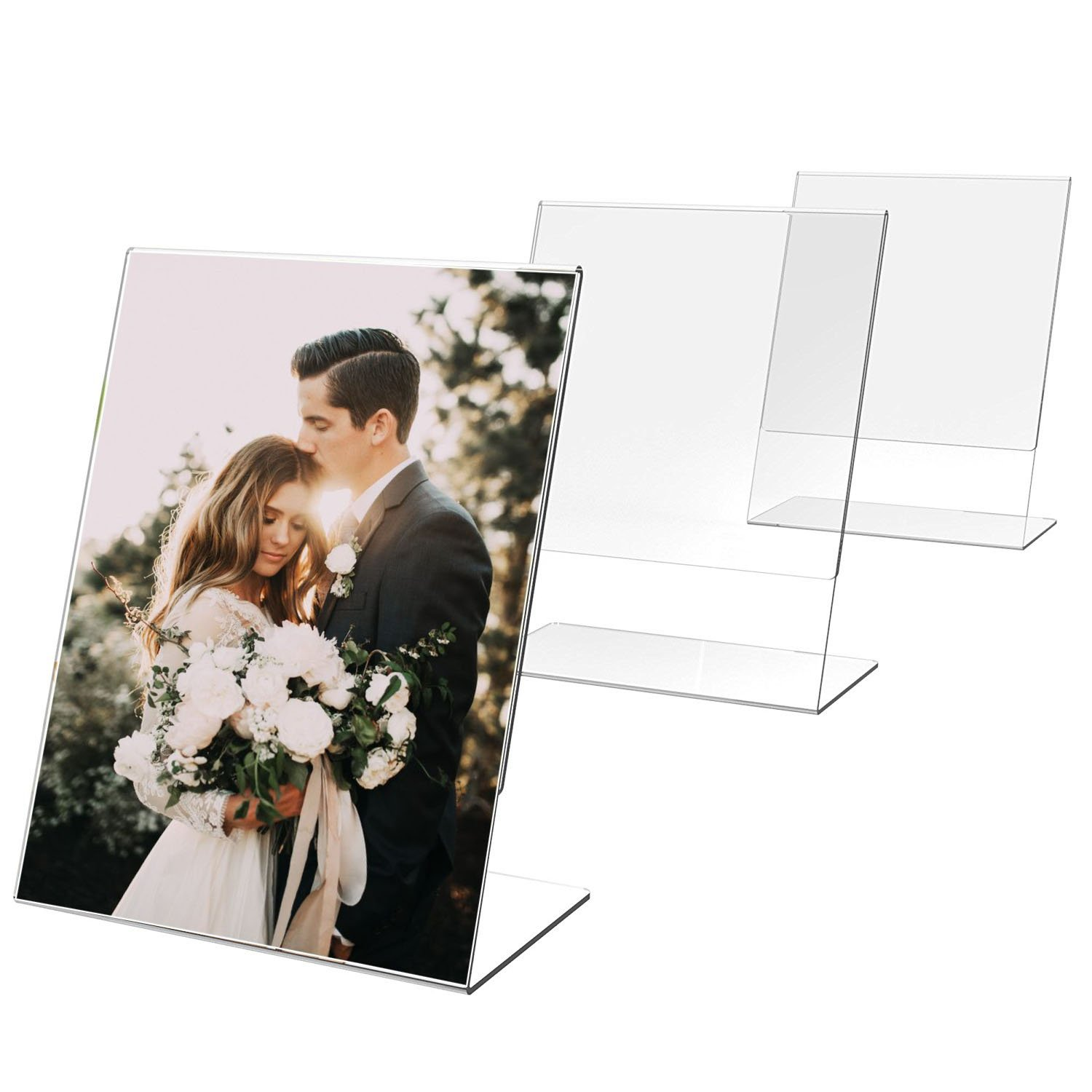 TWING Clear Plastic Table Menu Stand, Card Display, Upright Ad Photo Frame, Promo, 6-Pack 5''x7'' Acrylic Sign Holder