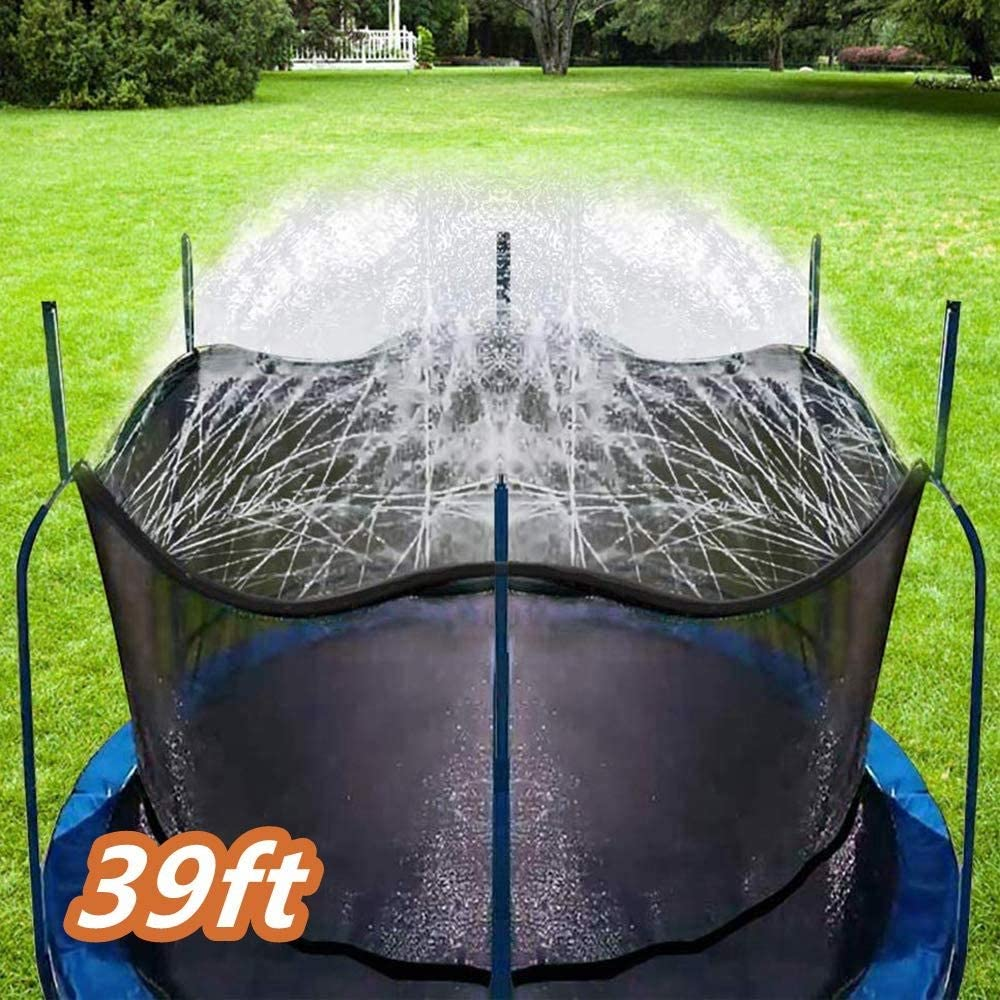 Sucastle Trampolín de riego for niños al Aire Libre Spary Parque de Atracciones del Agua del Verano Juguetes rociadores Patio Trasero Parque Agua for Niños Niñas 39 pies
